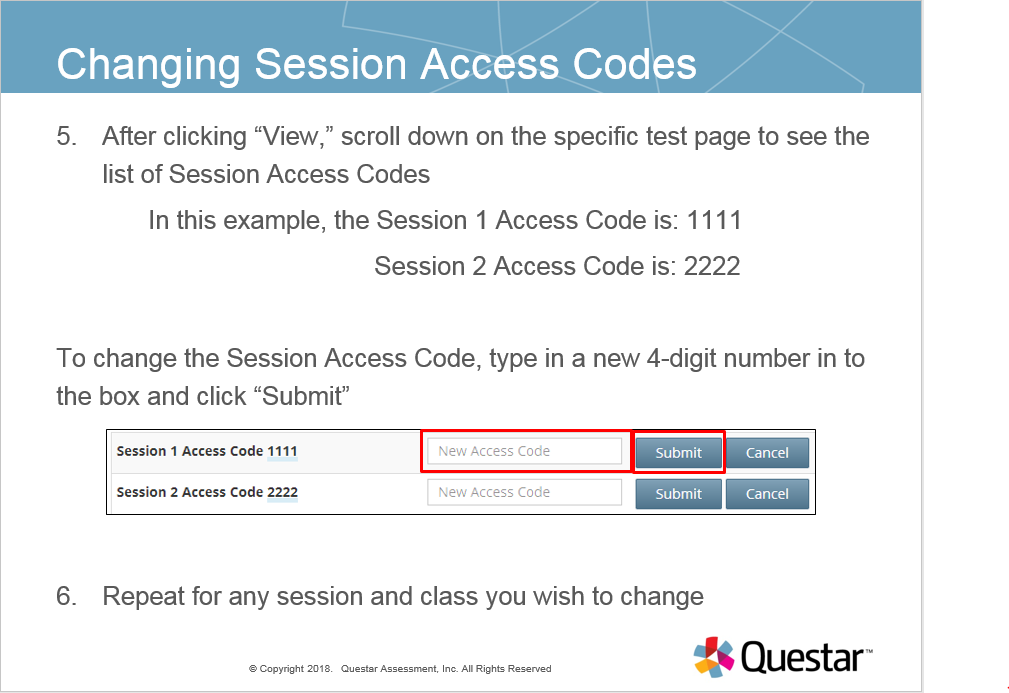 Documentation: How to view and change session access codes