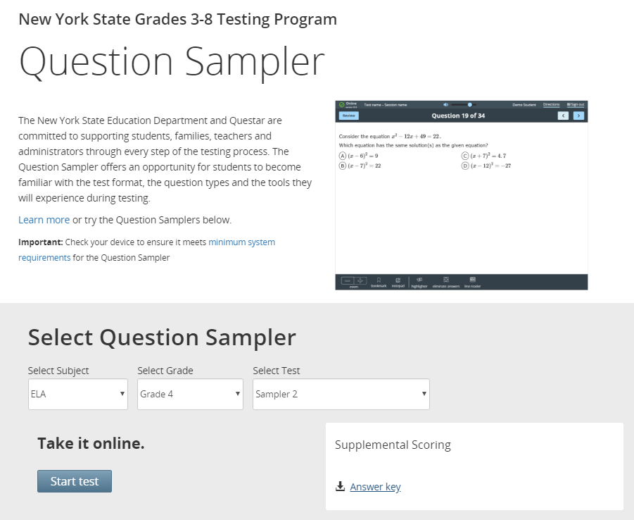 The Question Sampler Offers Three Different Practice Tests In Every Grade Level In Both Subjects You Can Also Review Different Testing Accommodations